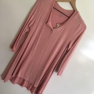 LOGO | Pink Scoop Split Neck Crochet Top | M